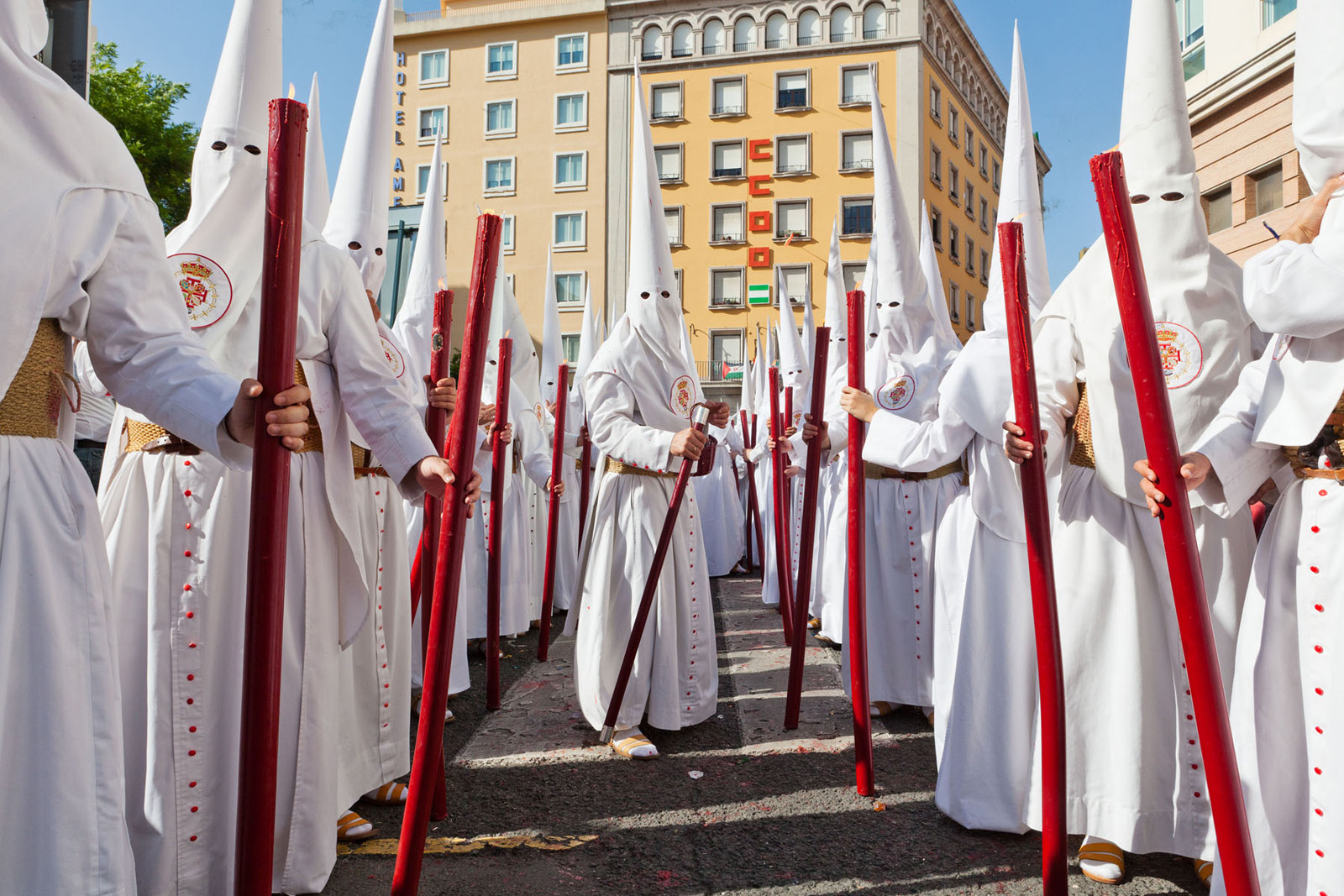 The relgious processions of Semana Santa in Seville the events and sights surrounding them.